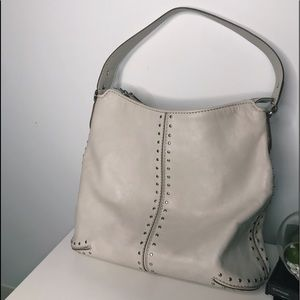 Micheal kors ivory white leather studded bag